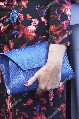 Paloma Rocasolano, bag detail arrives to the Campoamor Theater for the Princess of Asturias Award ceremony