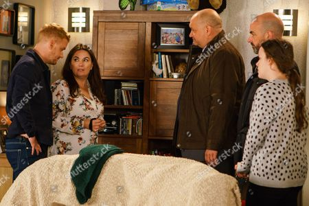 Ep 9289 Wednesday 1st November 2017 - 1st Ep The police call at No.13 and question Anna Windass, as played by Debbie Rush, about the allegations involving Seb. Anna swears she's innocent, adamant that Seb fell from his ladder and she came to his rescue. The police are disbelieving.