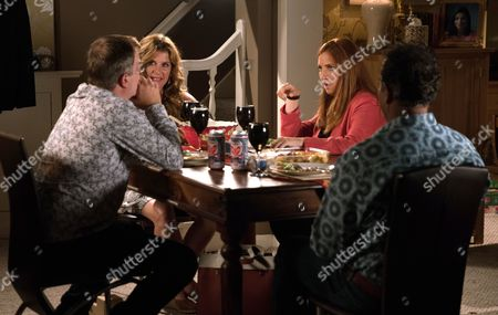 Stock Picture of Ep 9284 Wednesday 27th October 2017 - 2nd Ep After in invite from Dev Alahan, as played by Jimmi Harkishin, and Gina Seddon, as played by Connie Hyde, Steve McDonald, as played by Simon Gregson, finds himself on the double date from hell with Moira, as played by Louiza Patikas.