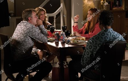 Stock Image of Ep 9284 Wednesday 27th October 2017 - 2nd Ep After in invite from Dev Alahan, as played by Jimmi Harkishin, and Gina Seddon, as played by Connie Hyde, Steve McDonald, as played by Simon Gregson, finds himself on the double date from hell with Moira, as played by Louiza Patikas,