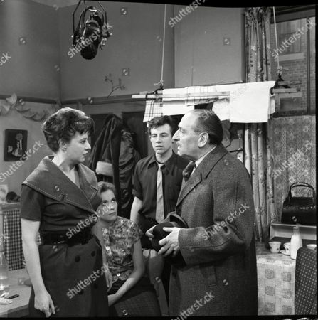 Stock Picture of Pat Phoenix (as Elsie Tanner), Anne Cunningham (as Linda Cheveski), Philp Lowrie (as Dennis Tanner) and Frank Crawshaw (as Arnold Tanner)