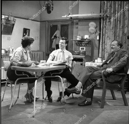 Pat Phoenix (as Elsie Tanner) and Philp Lowrie (as Dennis Tanner) and Robin Wentworth (as Arthur Dewhurst)