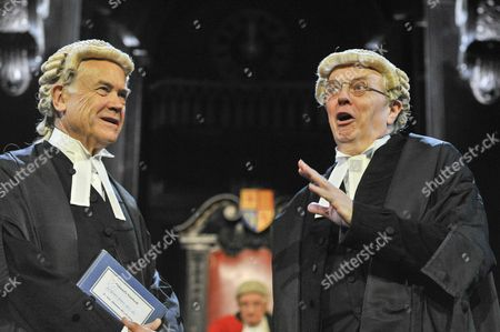 "(L to R) David Yelland as Sir Wilfrid Robarts and Philip Franks as Mr Myers QC. Photocall for ""Witness for the Prosecution"", by Agatha Christie, directed by Lucy Bailey, at London County Hall"