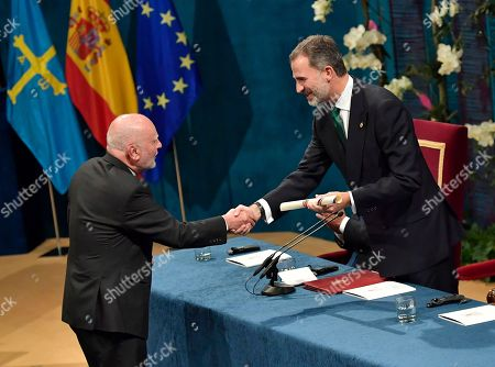 Adam Zagajewski, Felipe VI, Letizia. Writer and poet Adam Zagajewski from Poland, left, receives the Princess of Asturias award for Literature, presented by Spanish Kings Felipe VI, during the Princess of Asturias awards ceremony, in Oviedo, northern Spain, . The annual Princess of Asturias awards mark international notable achievements in the spheres of the sciences, humanities, and public affairs