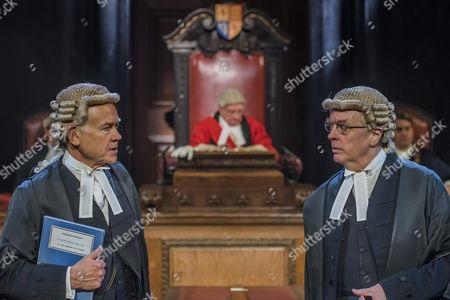 David Yelland as QC Sir Wilfrid Robarts and Philip Franks as Mr Myers QC