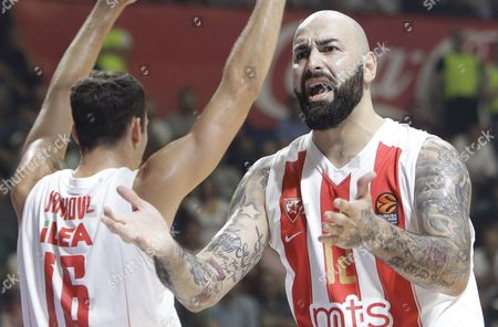 Pero Antic (R) of Red Star reacts during the Euroleague basketball match between Red Star and Barcelona in Belgrade, Serbia, 20 October 2017.