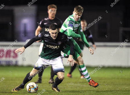 Bray Wanderers vs Shamrock Rovers. Bray's Aaron Greene with Dean Dillon of Rovers