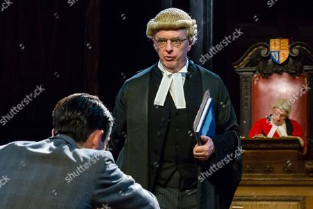 Jack McMullen as Leonard Vole, Philip Franks as Mr Myers QC and Patrick Godfrey as Mister Justice Wainwright