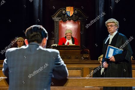 Jack McMullen as Leonard Vole, Patrick Godfrey as Mister Justice Wainwright and Philip Franks as Mr Myers QC