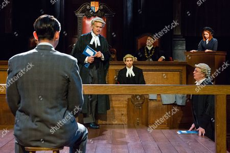 Jack McMullen as Leonard Vole, David Yelland as QC Sir Wilfrid Robarts, Philip Franks as Mr Myers QC and Catherine Steadman as Romaine