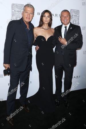 Mario Testino, Lily Aldridge and Jean-Christophe Babin, CEO of Bvlgari Global