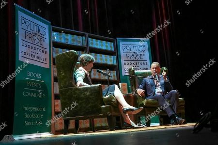 "Stock Image of Tom Hanks, Ann Patchett. Actor and author Tom Hanks, right, discusses his new book ""Uncommon Type"" with Moderator Ann Patchett at the Warner Theatre, in Washington"