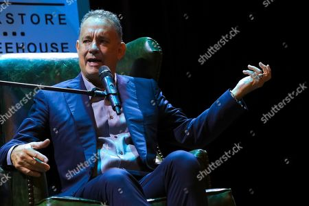 "Actor and author Tom Hanks discusses his new book ""Uncommon Type"" with Moderator Ann Patchett at the Warner Theatre, in Washington"