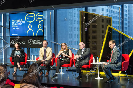 """Pam Daniels, Ian Hartman-O'Connell, Ilyce Glink, and Jim Sullivan, at the talk """"Redesigning Life: What Happens When We Live to 100?"""" being interviewed by Eddie Aruzza"""