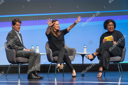 """Stock Image of Mark K. Shriver, Senior Vice President, US Programs and Advocacy, Save the Children; President, Save the Children Action Network, actress Jennifer Garner, and Aminatou Sow, Digital Strategist and Cohost, """"Call Your Girlfriend,"""" speak at the Edison Talks at Chicago Ideas Week."""