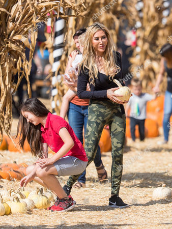 Stock Picture of Tess Broussard and her daughter Ava Hang are seen at at the pumpkin patch