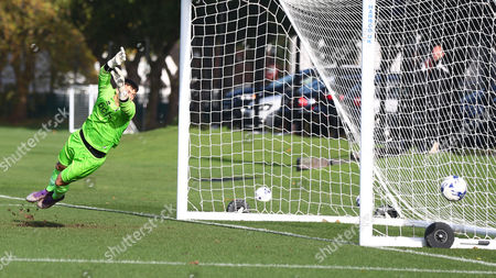 Sam Jackson of Millwall U18 saves during the U18 Professional Development League match between Millwall Academy v Crystal Palace Academy on October 21st 2017 at Millwall Training Ground, Bromley, England (