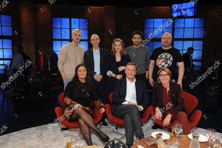 Stock Image of Mario Galla, Kester Schlenz, Jella Haase, Oliver Mommsen, Christian Lohse, Tala Mohajeri, Claus Kleber and Bettina Böttinger