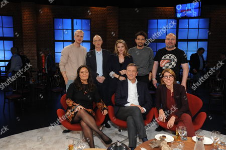 Mario Galla, Kester Schlenz, Jella Haase, Oliver Mommsen, Christian Lohse, Tala Mohajeri, Claus Kleber and Bettina Böttinger