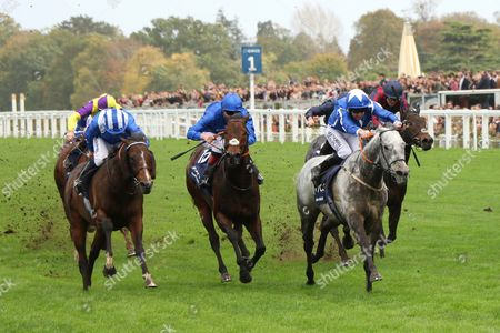 LIBRISA BREEZE ridden by Robert Winston beating Harry Angel (blue) & Tasleet (left) in The Qipco British Champions Sprint Stakes (Group 1) at Ascot