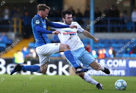 Glenavon vs Ballymena United . Glenavon's Andrew Hall in action Ballymena's Joe McKinney