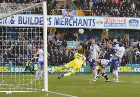 Aiden O?Brien of Millwall kicks Birmingham City Goalkeeper Tomasz Kuszczak in the wrist.