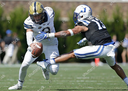 Jordan Hayes, Ben DiNucci. Duke's Jordan Hayes (13) reaches for Pittsburgh quarterback Ben DiNucci (3) during the first half of an NCAA college football game in Durham, N.C