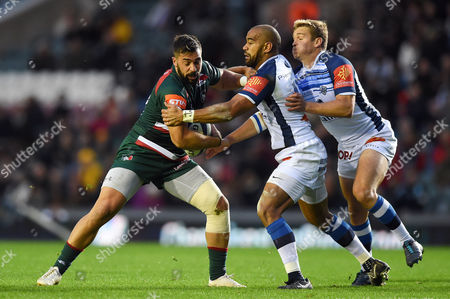 Valentino Mapapalangi of Leicester Tigers takes on the Castres defence