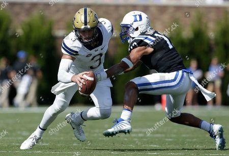 Ben DiNucci, Jordan Hayes. Duke's Jordan Hayes chases Pittsburgh quarterback Ben DiNucci (3) during the first half of an NCAA college football game in Durham, N.C