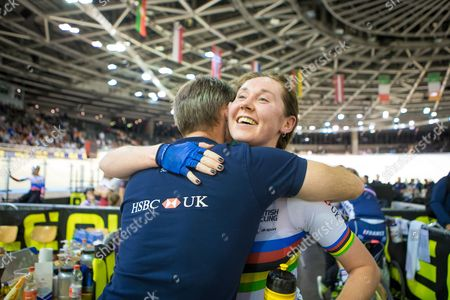 Stock Image of Great Britain's Katie Archibald celebrates with British Cycling's Performance Director Stephen Park after winning Gold in the Women's Omnium.