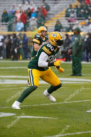Green Bay Packers tight end Martellus Bennett (80) warms up before an NFL football game against the New Orleans Saints, in Green Bay, Wis