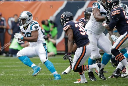 Jonathan Stewart, Adrian Amos. Carolina Panthers running back Jonathan Stewart (28) is chased by Chicago Bears safety Adrian Amos (38) during the first half of an NFL football game, in Chicago