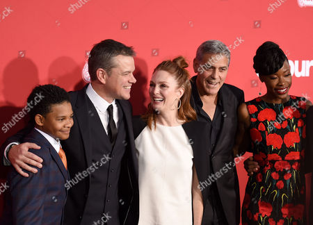 Stock Photo of Tony Espinosa, Matt Damon, Julianne Moore, George Clooney and Karimah Westbrook