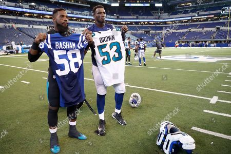 Tarell Basham, Blair Brown. Jacksonville Jaguars linebacker Blair Brown (53) and Indianapolis Colts linebacker Tarell Basham (58) exchange jerseys following an NFL football game in Indianapolis, . The Jaguars defeated the Colts 27-0