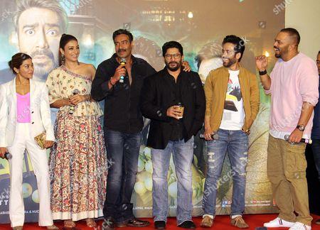 Stock Picture of Sangeeta Ahir, Tabu, Ajay Devgan, Arshad Warsi, Tushar Kapoor and Rohit Shetty