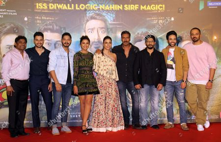 Stock Image of Johnny Lever, Kunal Khemu, Shreyas Talpade, Parineeti Chopra, Tabu, Ajay Devgan, Arshad Warsi, Tushar Kapoor and Rohit Shetty