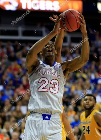Stock Photo of Kansas forward Billy Preston (23) during the first half of an exhibition NCAA college basketball game against Missouri in Kansas City, Mo