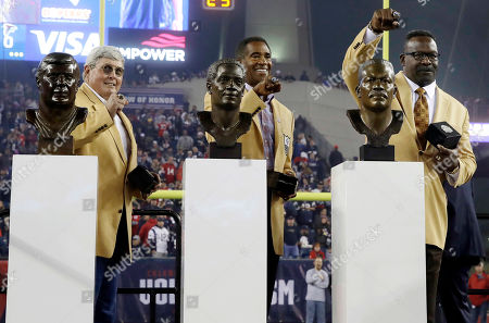 John Hannah, Mike Haynes, Andre Tippett. Former New England Patriots legends and Pro Football Hall of Fame inductees John Hannah, left, Mike Haynes, center, and Andre Tippett are honored during halftime of an NFL football game between the Patriots and the Atlanta Falcons, in Foxborough, Mass