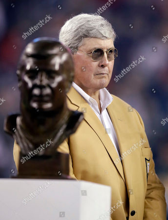 Former New England Patriots legend and Pro Football Hall of Fame inductee John Hannah is honored during halftime of an NFL football game between the Patriots and the Atlanta Falcons, in Foxborough, Mass