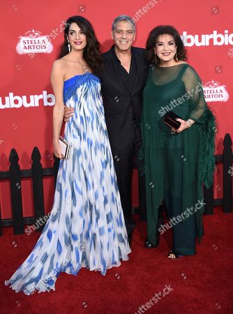"Amal Clooney, Baria Alamuddin, George Clooney. From left, Amal Clooney, George Clooney and Baria Alamuddin arrive at the Los Angeles premiere of ""Suburbicon"" on in Los Angeles"