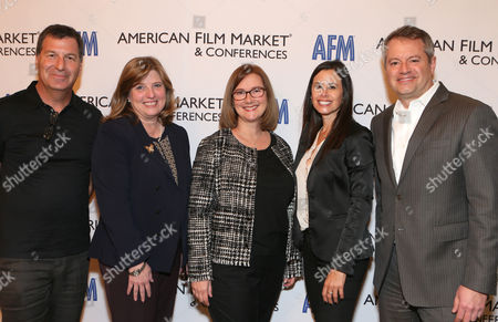 Gary Foster, and from left, Marian Koltai-Levine, Jill Jones, Dana Archer and Chris Day attend the 2014 American Film Market (AFM) Marketing Conference at the Fairmont Hotel on Monday, Nov. 10, in Santa Monica, Calif