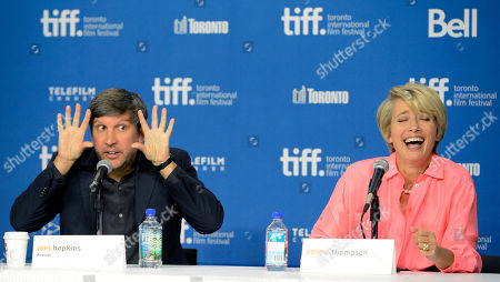"Joel Hopkins, left, writer/director of ""The Love Punch,"" and cast member Emma Thompson take part in a press conference for the film on day 8 of the 2013 Toronto International Film Festival at the TIFF Bell Lightbox on in Toronto"