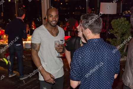 """Antoine Harris, left, seen at the LA Premiere Season Two """"Barely Famous"""" event in West Hollywood, in Los Angeles"""