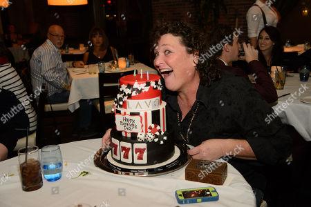 "Actor of ""Glee"", Dot Marie Jones celebrates her 50th birthday at Lavo Las Vegas, with partner, Bridgett Casteen, and former ""Glee"" cast member, Ashley Fink, on in Las Vegas, NV"