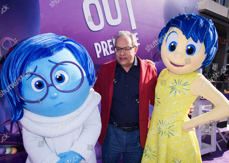 """Lewis Black, center, attends the Los Angeles premiere of """"Inside Out"""" at the El Capitan Theatre in Los Angeles. Black's Anger stars alongside Fear (Bill Hader), Disgust (Mindy Kaling), Sadness (Phyllis Smith) and Joy (Amy Poehler) in the animated Disney-Pixar feature out June 19"""
