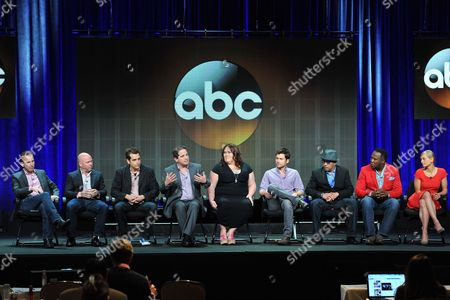 "Lucky 7"" cast and crew, from left, Darryl Frank, Justin Falvey, Jason Richman, David Zabel, Lorraine Bruce, Matt Long, Luis Antonio Ramos, Isiah Whitlock, Jr. and Anastasia Phillips attend the Disney/ABC Television Group's 2013 Summer TCA panel at the Beverly Hilton Hotel in Beverly Hills, Calif. The ABC drama ""Lucky 7"" has won a dubious derby as the first television show of the new season to be cancelled. ABC said, the show is gone after two episodes"