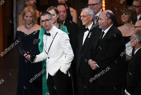 """Playwright Stephen Karam accepts the Tony award for Best Play for """"The Humans"""" onstage at the Tony Awards in New York. For all next week, Broadway-goers not in the mood for a musical will have only one option. """"The Humans,"""" Karam's play about a fractious family's get-together, will be the only non-musical show on offer at any of the 40 Broadway theaters after the closing of """"The Curious Incident of the Dog in the Night-Time"""" on Sept. 4"""