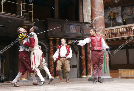 'Romeo and Juliet' -  front left - Romeo supports wounded Mercutio: Philip Cumbus (Mercutio), Adetomiwa Edun (Romeo)   right: Ukweli Roach (Tybalt)