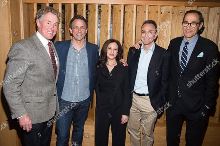 John C. McGinley, from left, Seth Meyers, IFC President Jennifer Caserta, Hank Azaria and CEO AMC Networks Josh Sapan attend the IFC Press Upfront luncheon at Upland on in New York