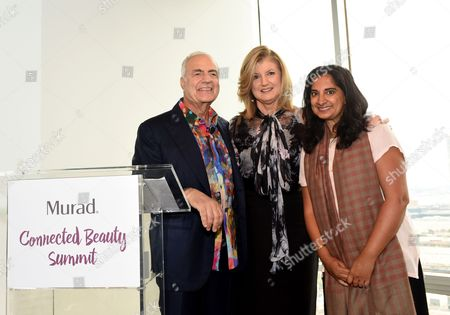 Dr. Howard Murad, from left, Arianna Huffington and Mallika Chopra attend the Connected Beauty Summit hosted by Murad, the pioneering clinical skincare brand, in New York